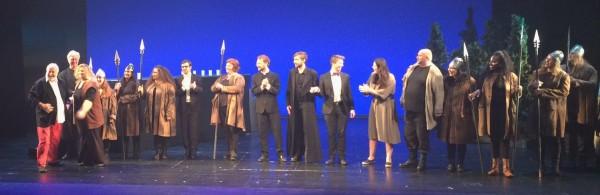 Applause: Arild Helleland, regi, left. with Megan Culen - Brunnhilde, and all his Die Walküre team. applause 3.7.2015. Foto Henning Høholt