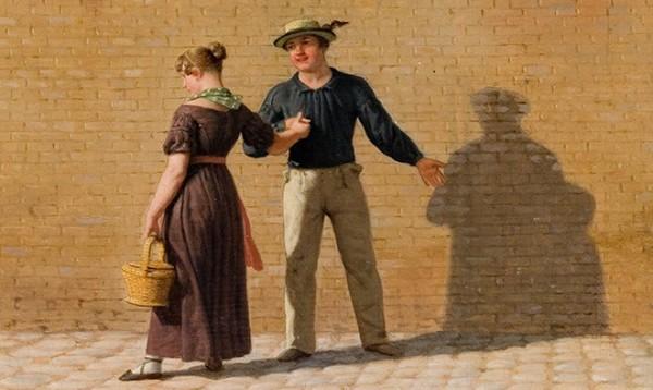 Christoffer Wilhelm Eckersberg, En matros, som tager afsked med sin pige (udsnit), 1840 Ribe Kunstmuseum