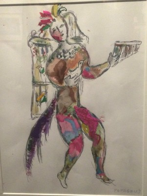 Sketch for Papageno costume by Marc Chagall. Foto Henning Høholt