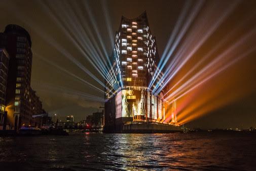 "The spectacular light display on the facade of the Elbphilharmonie, Hamburg's new landmark"" (Photo: Ralph Larmann)"